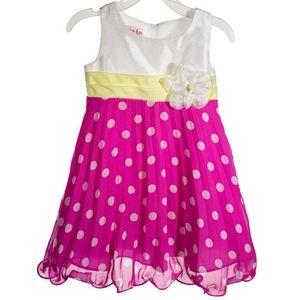 Jessica Ann Fuchsia Polka Dot Dress 3T